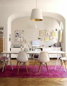 Copy Cat Chic Room Redo | Holly Becker's Hot Pink and White Workspace