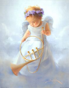 baby angel with trumpet by Joyce Birkenstock