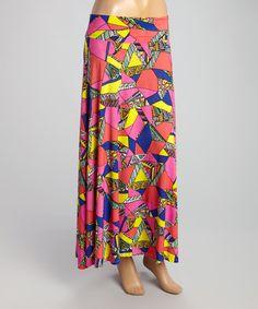 Fuchsia Geometric Maxi Skirt by Avital #zulily #zulilyfinds