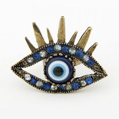 Vintage Vivid Diamante Eye Shaped Ring For Women