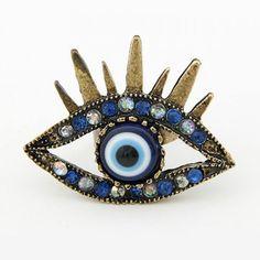 Vintage Vivid Diamante Eye Shaped Ring For Women