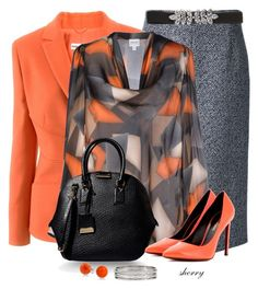 """""""Orange And Grey"""" by sherryvl ❤ liked on Polyvore featuring Michael Kors, Armani Collezioni, Burberry, Yves Saint Laurent, Bling Jewelry and Monsoon"""