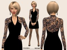 Black mini dress with lace, needful for the elegant and classy woman. Found in TSR Category 'Sims 4 Female Everyday'
