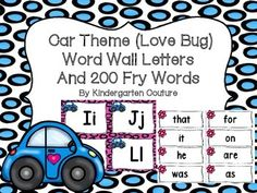 Here are some fun word wall letters that will go with your cars theme classroom. The letters are trimmed with a pink border with spots and a blue car with a heart on it. There are little pink flowers near the words. There is a blank word card page if you want to write more words.