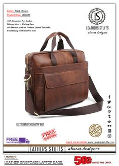 MEN'S & WOMEN'S: UNISEX: LEATHER BRIEFCASE LAPTOP BAGS.  Colors: BlacK, Brown. Product Code: LBG057 Price-$150  100% Guaranteed Pure Leather. Delivery: 10 to 15 Working Days 50% Discount on all our Products. Limited Time Offer. Free Shipping on Orders Over $100. Laptop Bags, Leather Briefcase, Leather Design, Messenger Bag, Satchel, Delivery, Unisex, Pure Products, Free Shipping