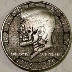 Hobo Nickel, Coin Art, Bullion Coins, Old Money, Skulls And Roses, Half Dollar, Stamp Collecting, Skull Art, Dark Art