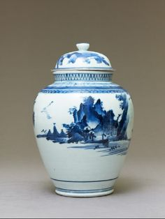 Jar with river and mountain landscapeside