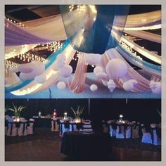 Sheer ceiling drape in white and turquoise with white lanterns.