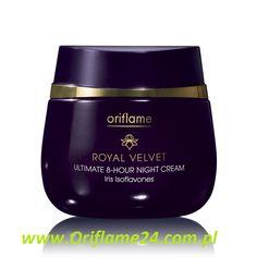 Royal Velvet Ultimate 8-Hour Night Cream - Krem na noc Royal Velvet Ultimate Oriflame. Poczuj, jak aksamitny krem koi Twoją skórę. Gdy Ty śpisz, on przywraca jej świeży, promienny wygląd. Izoflawony z irysa i witamina A głęboko odżywiają skórę przez 8 godzin i wspomagają jej regenerację. Do cery suchej, dojrzałej. 50 ml