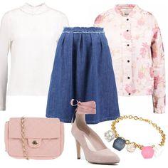 Delizioso+outfit+romantico+per+le+under+35,+perfetto+per+il+tempo+libero.+Bomber+gardenia+con+fantasia+floreale,+camicetta+snow+white+con+colletto+alla+coreana,+gonna+di+jeans+a+campana,+décolleté+rose+con+effetto+scamosciato+e+lacci,+tracolla+rosa+chiaro+e+per+finire+bracciale+con+pietre+che+riprendono+tutti+i+colori+del+nostro+look.+Sarete+bellissime.