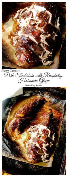 Slow Cooker Pork Tenderloin with Raspberry Habanero Glaze - moist and tender with tons of sweet and spicy flavor! | cupcakesandkalechips.com