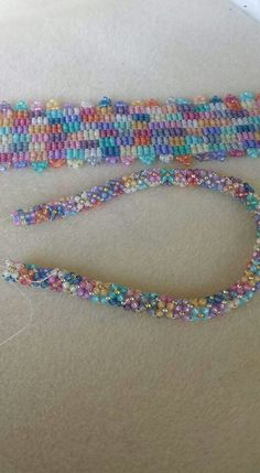 BEAUTIFUL! 3-drop peyote bracelet, chenille stitch necklace