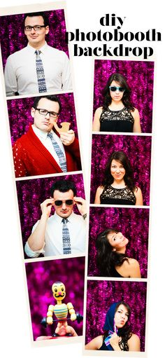 diy tinsel photobooth backdrop - Lovely Indeed