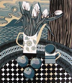 For Arts Sake | Print Making : 'Plums' by Jane Walker (linocut)