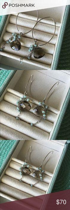 Sterling Silver + Smoky Quartz + Mint Gem Earrings Simple + Stunning Statement Earrings. Sterling Silver V Hoops + Smoky Quartz Gems + Mini Mint Beads Cascading like little waterfalls. Gorgeous! Jewelry Earrings