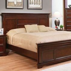 A classic canvas for crisp sheets and a cozy duvet, this handsome bed features a timeless paneled design and cappuccino finish. Classic Bedroom Furniture, Bedroom Furniture Sets, Bed Furniture, Bedroom Sets, Furniture Ideas, Bedrooms, Wood Bed Design, Bed Frame Design, Bedroom Bed Design