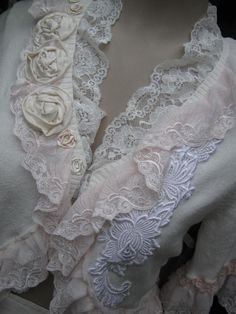 upcycled shabby chic.. sweater cardy lacey by sistersroseandruby