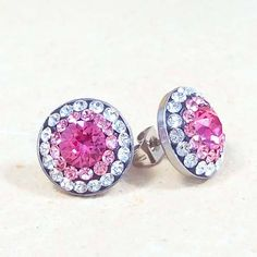 12mm Swarovski Crystal Steel Earrings - Surgical Steel Jewelry - crystal - light rose -rose II. by SteelJewelryShop on Etsy