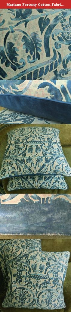 "Mariano Fortuny Cotton Fabric Custom Designer Throw Pillows Uccelli Blue Beige Set of 2. Matching pair of pillows made from a Fortuny fabric called Uccelli, a 17th C French design . This is the colorway called Blue and Beige. The listed price is for one matching pair of pillows. Each cushion measures 20""h x 20""w, a great size for just about anywhere. The blue is like a Cadet blue, not too much on the gray side, but rather bright, and is done in various shades from light to dark. A very..."