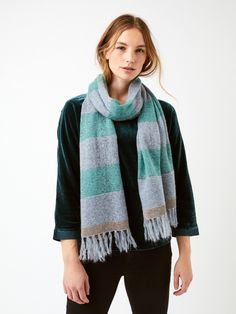 Super soft to touch, this sparkly stripe scarf has metallic stripe detail and a fringed trim. It's made from a merino wool blend and will dress up any outfit. Striped Scarves, Great Christmas Gifts, Jade Green, Fabric Weights, Merino Wool, Women's Accessories, Wool Blend, Dress Up, White Stuff
