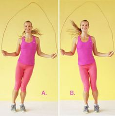A jump rope is another great way to exercise. Plus, it's a great Cardio workout! Fitness Tips, Fitness Motivation, Health Fitness, At Home Core Workout, Jump Rope Workout, Sweat It Out, Fat Burning Workout, The Bikini, I Work Out