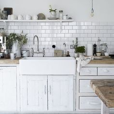 Farm sink and subway tile by alison