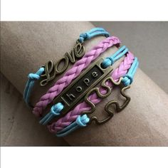 Pink blue puzzle infinity bracelet love hope gift Infinity bracelet color of bracelets may look slightly different shade than photo. Sometimes it is hard to get the actual color. Jewelry Bracelets