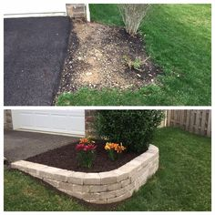 There are many easy front yard landscaping for homeowners that are easy to find. Either way you can have front yard landscaping that will take minimal work. Front House Landscaping, Outdoor Landscaping, Outdoor Gardens, Diy Landscaping Ideas, Landscaping Borders, Hillside Landscaping, Landscaping Design, Retaining Wall Landscaping, Front Yard Walkway