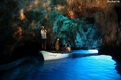 Blue Cave (Modra Spilja) on Bisevo, near island of Vis - Watch the sunbeams penetrate through the submarine opening, reflect from the bottom floor and colour the cave in blue  objects in the water in silver... Experience the true silver-blue magic: Spend your vacation on island of Vis and take a boat trip to Blue Cave ------ >> http://www.adriagate.com/en/island-croatia-info/island-Vis.aspx