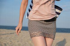 Sexy Mini Skirt In Stormy Grey / Handmade Crochet by Accessodium, $80.00