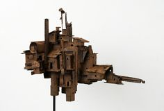 title: Dwelling 3 / size: 750 x 500 x / medium: Paper, metal, medium, etc. Architecture Design, Steampunk House, Cardboard Art, Building Art, Junk Art, Fairy Art, Recycled Art, Minimalist Art, Wood Sculpture