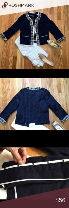 "WHBM Navy Blue Embellished Trophy Jacket Sz 8 A rich collection of blue beads framed in baguettes, and champagne crystals encircled in knit frames. Welt pockets are finished with shimmering tweed fringe. Princess seams traced in grosgrain ribbon create a contoured fit. 3/4 sleeves. Five hook and eyes close the placket. Unlined interior finished with satin-bound seams. Stretch cotton fabric with the feel of grosgrain ribbon. 98% cotton, 2% spandex. Regular length: 21"" from shoulder in front…"