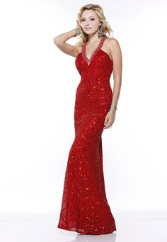 Scala halter style floor length red dress $338. Plus check out our Pinterest Prom Rebate offer mydressconnection.com/pinterest