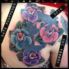 Birds not by me. https://www.facebook.com/VorssaInk, http://tattoosbykata.blogspot.fi, #tattoo #tatuointi #katapuupponen #vorssaink #forssa #finland #traditionaltattoo #suomi #oldschool #rose