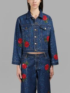 ASHISH ASHISH WOMEN'S BLUE ROSES DENIM JACKET. #ashish #cloth #jackets