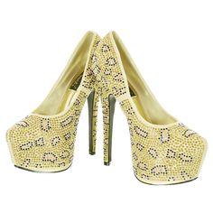 Beige Two Tone Rhinestone Cheetah Pattern Pump Heels | Sexyback Boutique