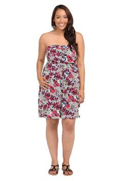 Torrid Plus Size White Polka Dot Floral Challis Strapless Dress