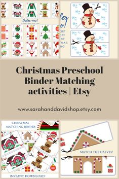 Order now this Christmas Preschool binder Binder with Printable Matching cards and make Christmas special for your little one! You can also take advantage of our early Christmas clearance and grab your 20% on this Toddler busy binder. Preschool Binder, Preschool Christmas Activities, Kids Activities At Home, Printable Activities For Kids, Preschool Learning Activities, Preschool Printables, Preschool Worksheets, Frugal Christmas, Teacher Christmas Gifts