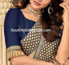 Stylish Blouse Designs For Chiffon and Georgette Sarees! blouse designs with frills Saris, Saree Blouse Neck Designs, Fancy Blouse Designs, Latest Blouse Designs, Indian Blouse Designs, Patch Work Blouse Designs, Lehenga, Sabyasachi, Sari Bluse