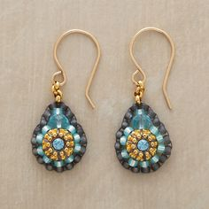 """VICTORIA EARRINGS--The exquisite craftsmanship of these Miguel Ases blue quartz beaded earrings evokes a bygone era, with dainty blue quartz, Swarovski crystal and Japanese Miyuki beads. Made in USA. 1-1/4""""L."""
