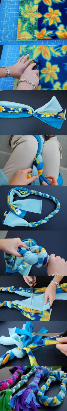 DIY Fleece Rope Dog Toy 2. Has dimensions I make these for my dogs out of the scraps of fleece and they love to play with them