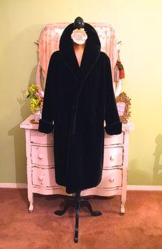 Inky Faux Fur Coat Rich Black Coat Long by SownThreadsClothing