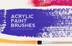 200 Acrylic Paint Brushes by Medialoot on Creative Market