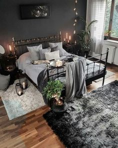 Dark, black, and cozy bedroom interior design. - Dark, black, and cozy bedroom interior design. Apartment Bedroom Decor, Budget Bedroom, Room Decor Bedroom, Bedroom Ideas, Design Bedroom, Diy Bedroom, Bedroom Inspiration, String Lights In The Bedroom, Home And Deco