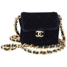 Preowned Rare Vintage Chanel Micro Mini Black Velvet Gold Hw Flap Bag (7.965 NOK) ❤ liked on Polyvore featuring bags, handbags, black, flap bag, preowned bags, chanel, gold purse and gold bag
