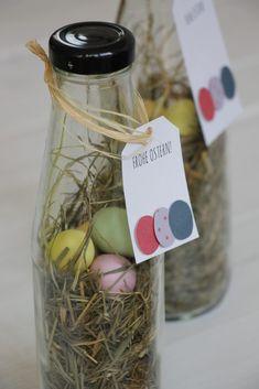 Osterdeko basteln: Im Blog findet ihr eine Anleitung für ein Oster-Mitbringsel, das auch auch als Osterdeko-Idee für den Osterfrühstücktisch eignet. Über Ostern im Glas freuen sich Groß und Klein.