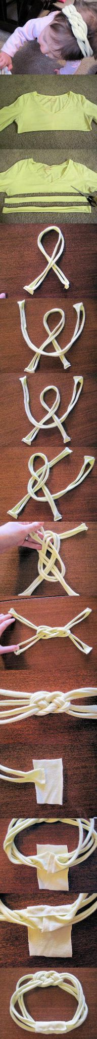 T-shirt hair band..this is super cute and looks pretty easy!