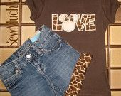 LOVE applique with giraffe print & Minnie Mouse ears, matching ruffled shorts