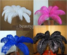 Wholesale Ostrich Feather - Buy 14-16'' 35-40cm Natural Dyed Ostrich Feather Plume Centerpiece Wedding Party Decortion, $1.26 | DHgate