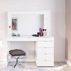 Narelle 3 Drawer Makeup Vanity Set with Mirror Bedroom Makeup Vanity, Vanity Room, Makeup Vanities, Makeup Rooms, Makeup Table Vanity, Bathroom Vanities, Vanity Table Set, Vanity Set With Mirror, White Vanity